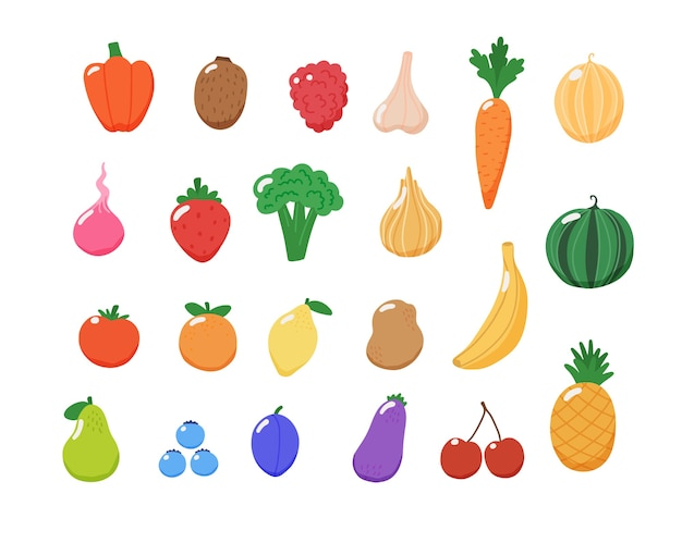 Fruits and vegetables collection.