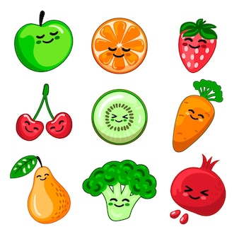 Fruits and vegetables collection Free Vector