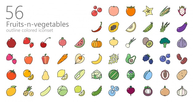 Fruits and vegetables colored icon set