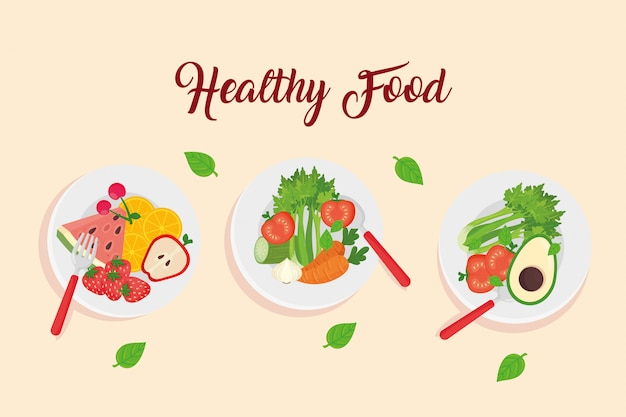 Fruits and vegetables in dishes, healthy food concept vector illustration design