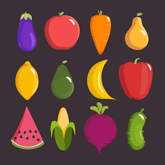 Fruits and vegetables eggplant apple carrot pear lemon avocado banana pepper watermelon corn beet cucumber in a flat cartoon style