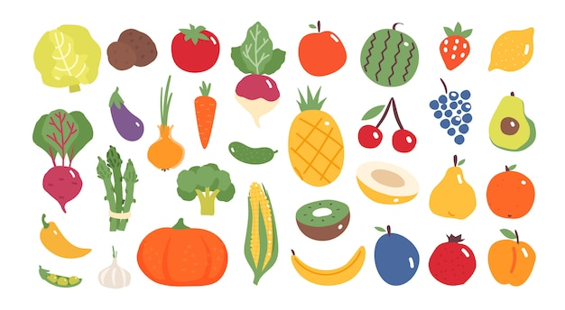 Fruits and vegetables in flat design