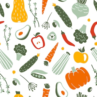 Fruits and vegetables flat hand drawn seamless pattern.