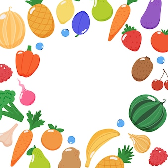 Fruits and vegetables frame with copy space