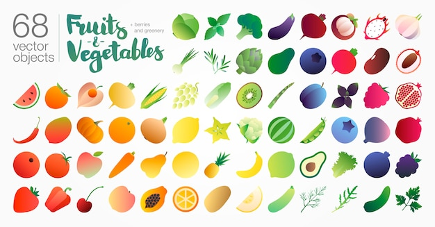 Fruits and vegetables gradient colored icon set