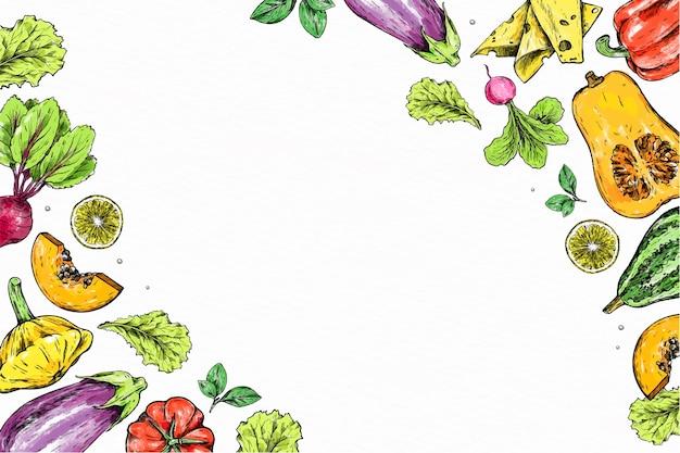 Illustrazione fatta a mano di frutta e verdura