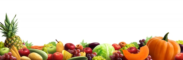 Fruits and vegetables horizontal composition