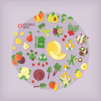 Fruits and vegetables  icons collection.  modern style.