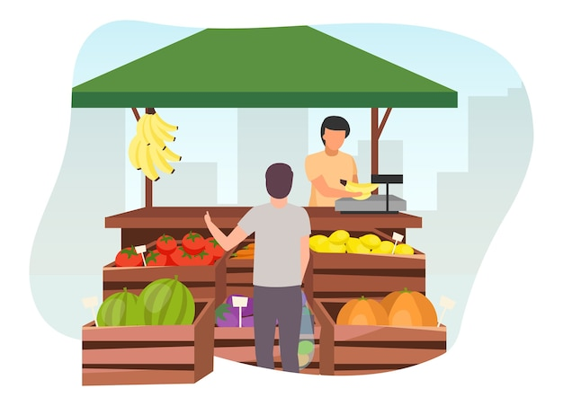 Fruits and vegetables market stall with seller flat illustration. man buying farm products, eco and organic food at trade tent with wooden crates. summer market stand, grocery outdoor street shop