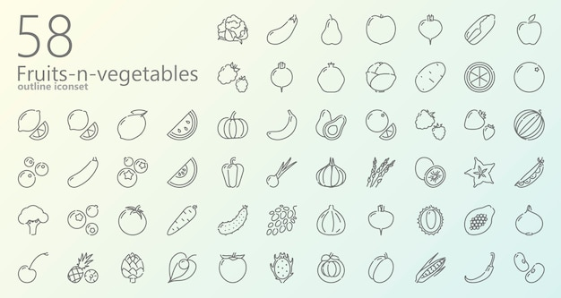 Fruits and vegetables outline icon set
