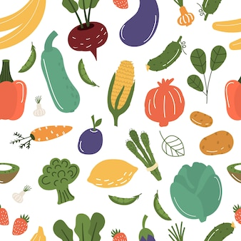 Fruits and vegetables seamless pattern illustration.