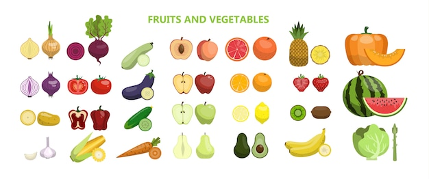 Fruits and vegetables set on white