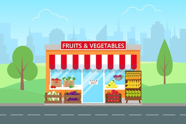 Fruits and vegetables shop in flat style. facade of grocery store.big city on background.
