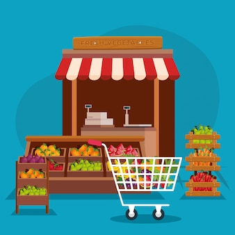 Fruits and vegetables shop illustration, store market shopping commerce retail buy and paying