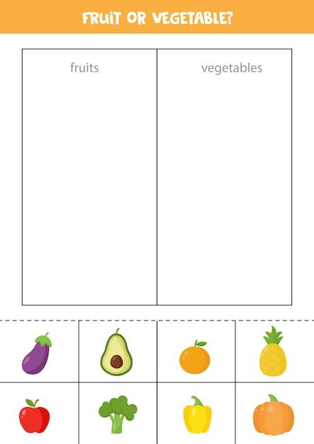 Premium Vector Fruits Or Vegetables. Sorting Game For Preschool Kids.  Educational Logical Worksheet.