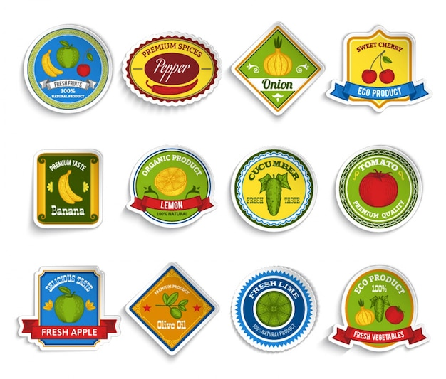 Fruits vegetables stickers set color