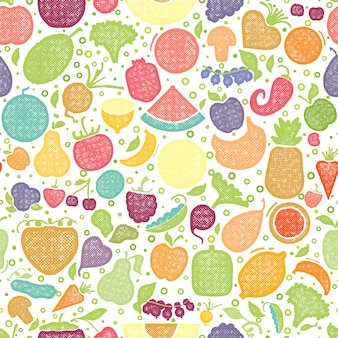 Fruits and vegetables textured pattern