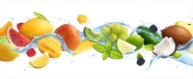 Fruits on white isolated illustration