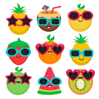 Fruits with sunglasses in summer set