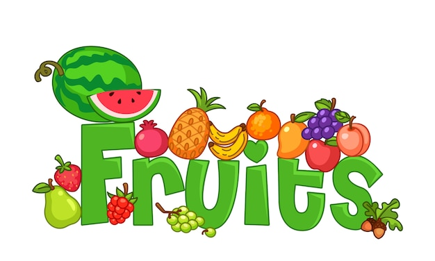 Fruits with text