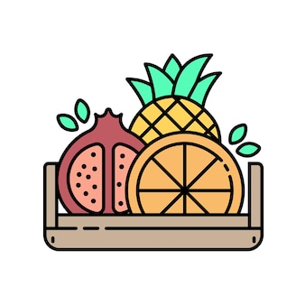 Fruits in wooden box - modern line icon with color