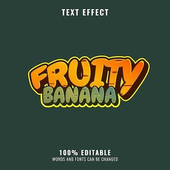과일 바나나 재미있는 캐주얼 게임 로고 텍스트 효과