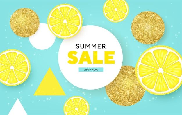 Фруктовая летняя распродажа, красочные баннеры с лаймом, лимоном, тропические фрукты, золотые круги
