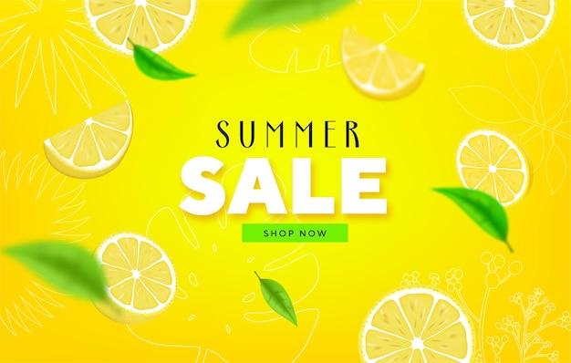 Фруктовая летняя распродажа красочные баннеры с лаймом, лимонными тропическими фруктами