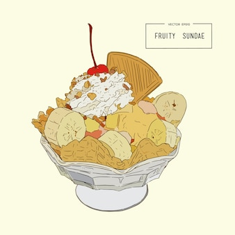 Fruity sundae, hand draw sketch vector.