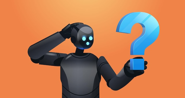 Frustrated black robot cyborg holding question mark help support service faq problem artificial intelligence technology