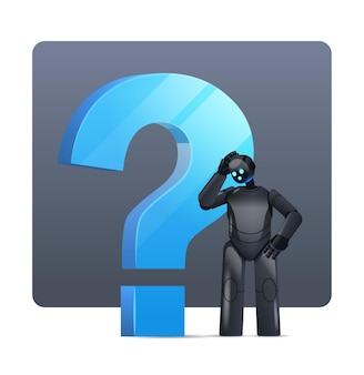 Frustrated black robot cyborg standing near question mark help support service faq problem artificial intelligence technology