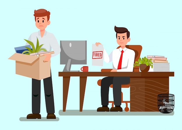 Frustrated fired worker flat vector illustration