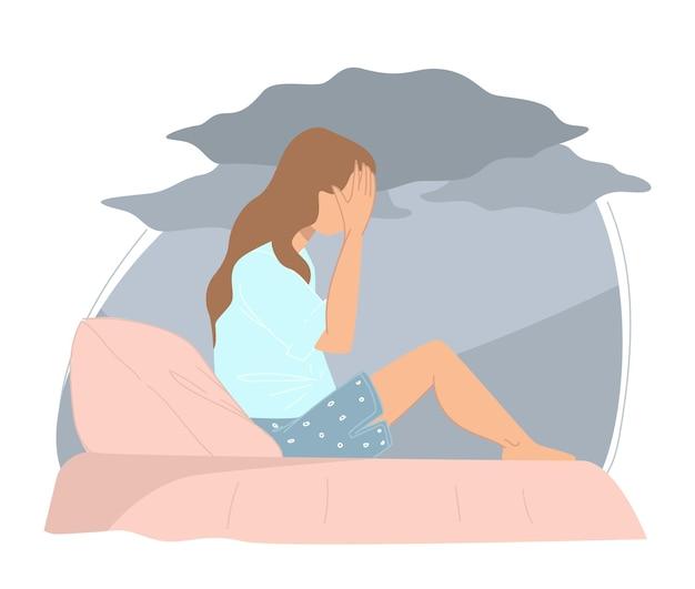 좌절하거나 우울한 여성 캐릭터는 머리를 손에 들고 침대에서 울고 있습니다. 문제나 실수를 생각하는 10대 소녀. 외로움이나 집에서 인물에 대한 두려움. 평면 스타일의 벡터