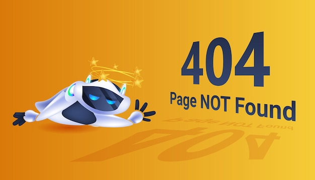 Frustrated robot 404 page not found error artificial intelligence technology concept full length horizontal vector illustration