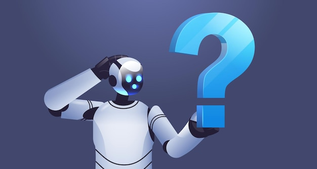 Frustrated robot cyborg holding question mark help support service faq problem artificial intelligence technology