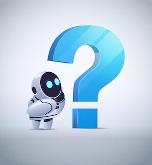Frustrated robot cyborg standing near question mark help support service faq problem artificial intelligence technology