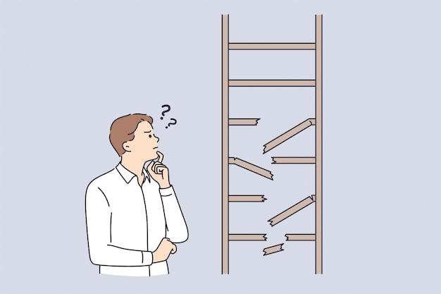Разочарование, бизнес-стратегия, концепция сомнения. молодой разочарованный бизнесмен мультипликационный персонаж, стоящий, глядя на сломанную лестницу, чувствуя себя неуверенно векторная иллюстрация
