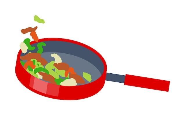 프라이팬 측면보기에서 야채 튀김