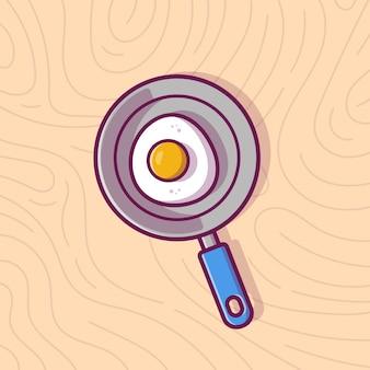 フライパンと卵焼き漫画イラスト