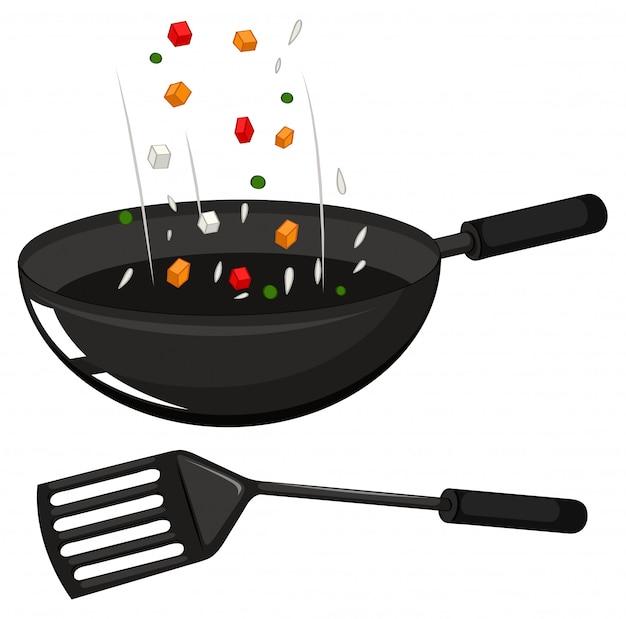 Frying pan and black spatula