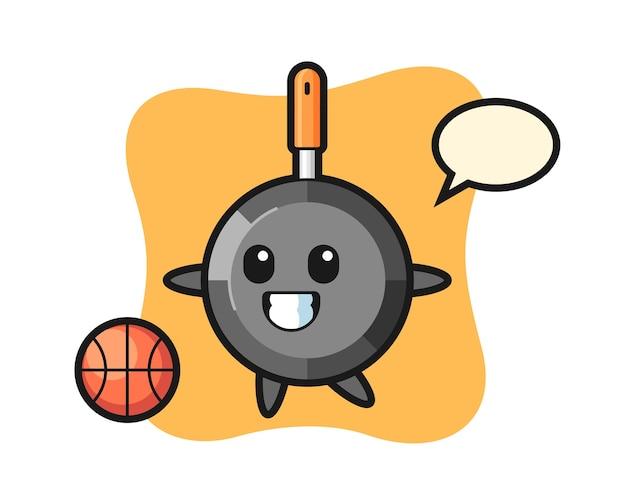 Сковорода мультфильм играет в баскетбол
