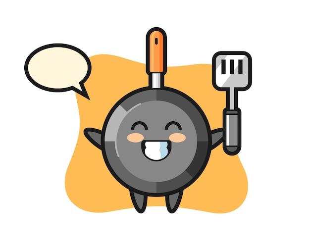 요리사가 요리하는 프라이팬 캐릭터