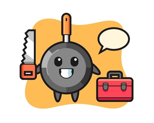 Персонаж сковороды в роли плотника