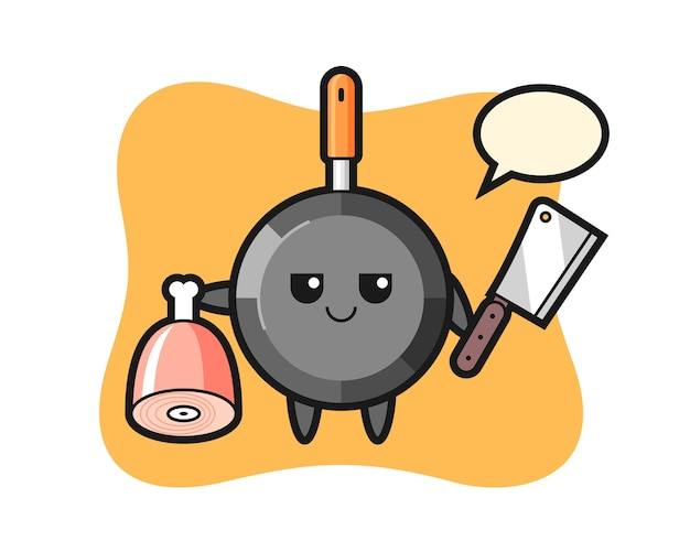 Frying pan character as a butcher