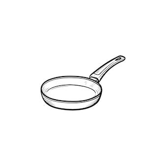 프라이팬 손으로 그린 개요 낙서 아이콘. 흰색 배경에 격리된 인쇄, 웹, 모바일 및 인포그래픽을 위한 열 벡터 스케치 그림에서 음식을 튀기기 위한 팬입니다.