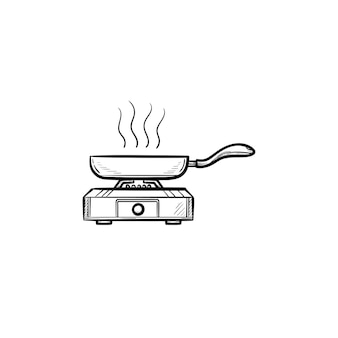 프라이팬 손으로 그린 개요 낙서 아이콘. 흰색 배경에 격리된 인쇄, 웹, 모바일 및 인포그래픽을 위한 열 벡터 스케치 그림에 음식을 팬.