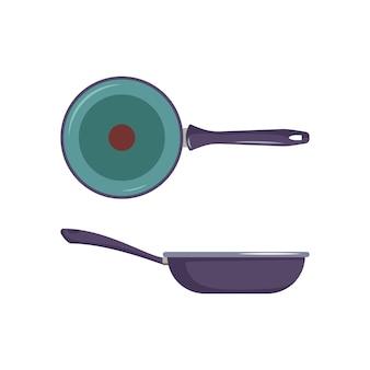 Сковорода значок сверху и сбоку. посуда для приготовления, жарки продуктов. кухонная утварь и предметы
