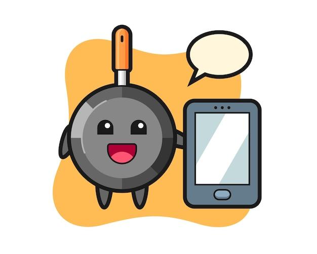 Frying pan illustration cartoon holding a smartphone