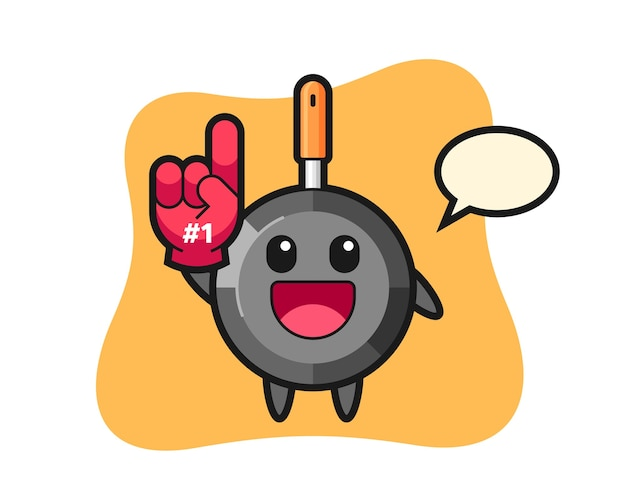 Frying pan illustration cartoon with number fans glove