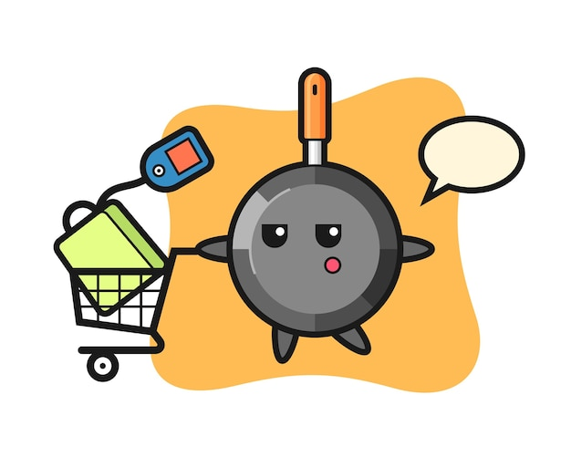 Frying pan illustration cartoon with a shopping cart